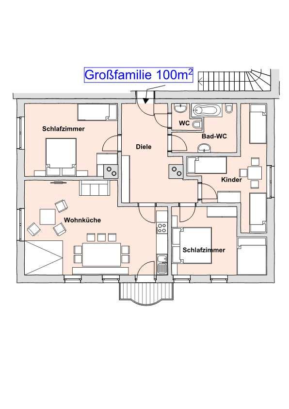 Mit Einer Fläche Von 100m2, 11 Betten, Einer Großen Küchenzeile Mit  Spülmaschine Finden Hier Gruppen, Mehrere Familien Und Generationen Bequem  Platz